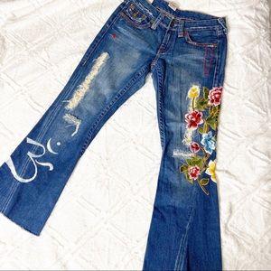 True Religion Embroidered Flare Jeans Bellbottom